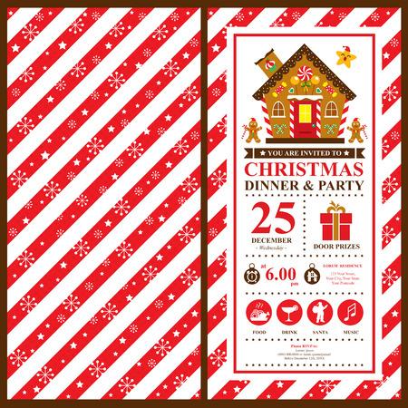 casita de dulces: Tarjeta de Invitación de la Navidad Vectores