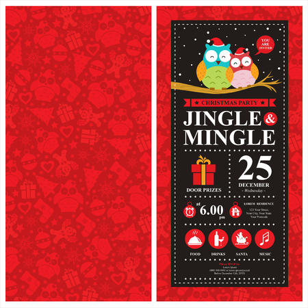 christmas card: Christmas card invitation with Owl