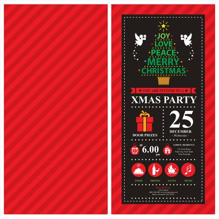 Kerstkaart uitnodiging Stock Illustratie