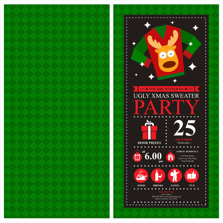 party animal: Christmas Invitation Card Illustration