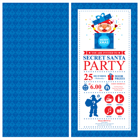 office party: Christmas Card Invitation with Santa Claus Illustration