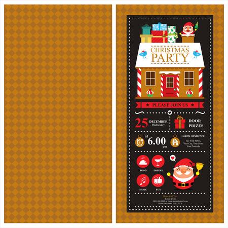 casita de dulces: Invitación de la tarjeta de Navidad con Papá Noel