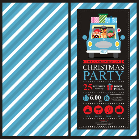 joyride: Christmas invitation card with Santa Claus and Friends