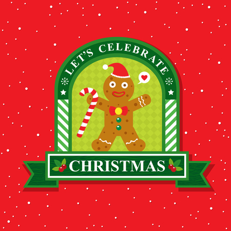 christmas card: Christmas card with ginger bread cookie Illustration