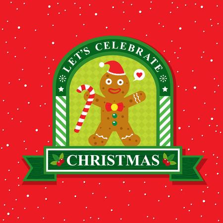 galleta de jengibre: Tarjeta de Navidad con galletas de pan de jengibre