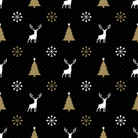 black tree: Christmas Reindeer Seamless Black and Gold