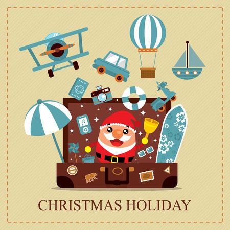 aereo: Scheda di festa di Natale Vettoriali