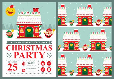 casita de dulces: Invitación de la tarjeta de Navidad