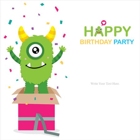 surprise box: Cute Monster Invitation Birthday Card Illustration