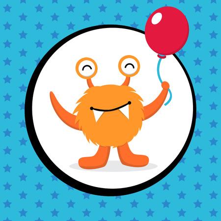 baby girl cartoon: Cute Monster Birthday Card