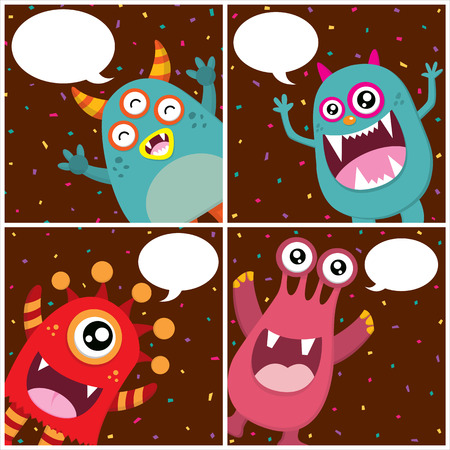 birthday invitation: Cute Monster Invitation Birthday Card Illustration