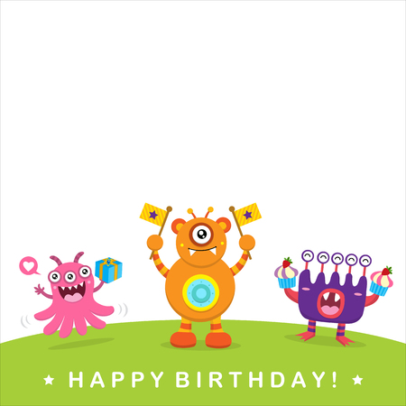 kids background: Cute Monster Invitation Birthday Card Illustration
