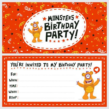 Cute Monster Invitation Birthday Card Ilustrace