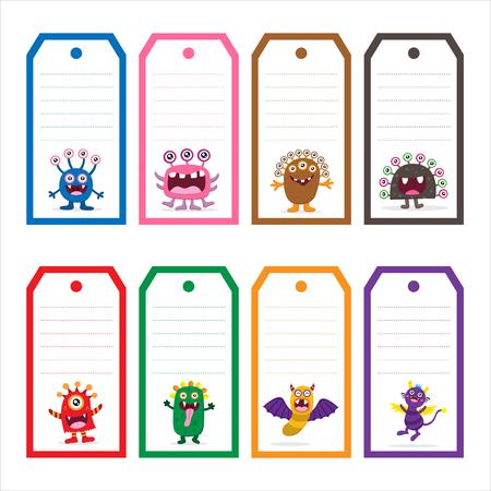 Cute Monster tag carte Vecteurs