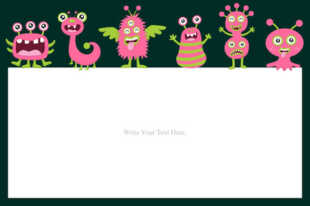 name tags: Cute Monster Invitation Birthday Card Illustration