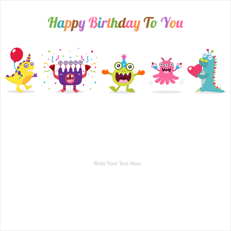 child birthday: Cute Monster Invitation Birthday Card Illustration