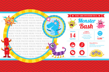 Cute Monster Invitation Birthday Card Vectores