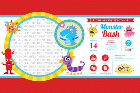 Cute Monster Invitation Birthday Card Illustration