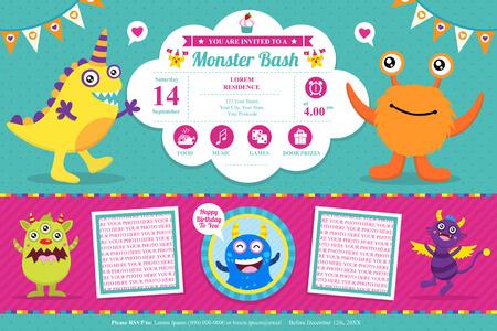 Cute Monster Invitation Birthday Card Illusztráció