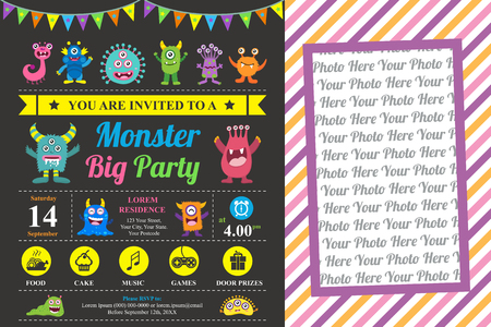Cute Monster Invitation Birthday Card Illustration