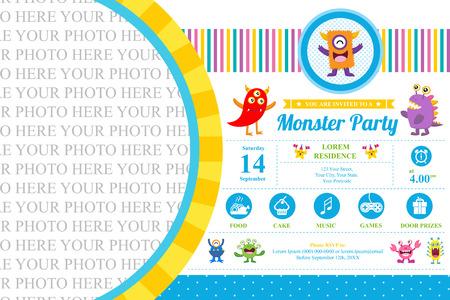 birthday invitation: Cute Monster Invitation Birthday Card Illustration