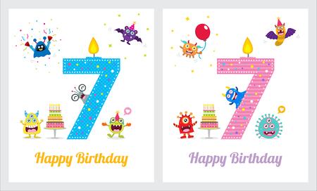 Cute Monster Invitation Birthday Card Stock Illustratie