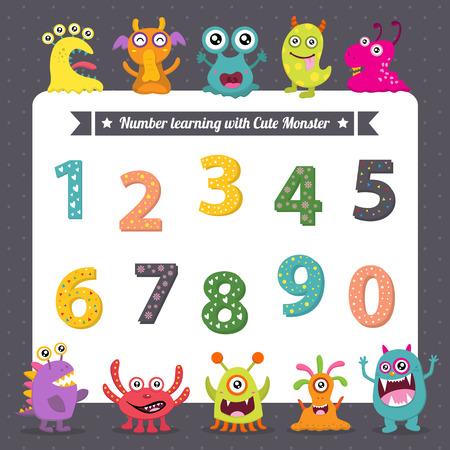 numero nueve: Número de aprendizaje con monstruitos