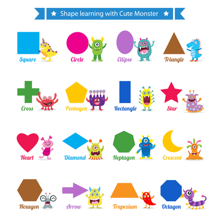 preschool teacher: Learning shapes with cute monsters