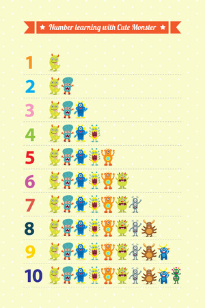 preschool teacher: Learning number with cute monsters