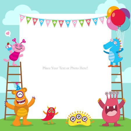 Invitación linda de la tarjeta de cumpleaños de los monstruos Ilustración de vector