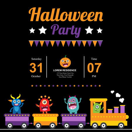 party girl: Cute Monsters Halloween card invitation Illustration