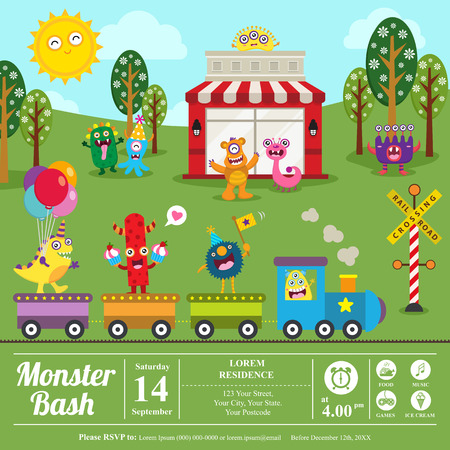 bash: Cute Monster Birthday card Illustration