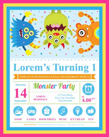 marco cumpleaños: Tarjeta de cumpleaños linda del monstruo Vectores