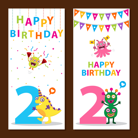 bash: Cute Monster Birthday Card