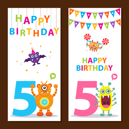 5 years: Cute Monster Birthday Card