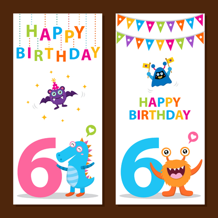 six year old: Cute Monster Birthday Card