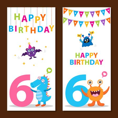 6 years: Cute Monster Birthday Card