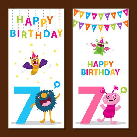 7 year old girl: Cute Monster Birthday Card