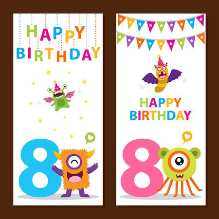 Monstre mignon carte d'anniversaire Banque d'images - 58506262