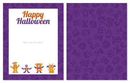 cute wallpaper: Halloween Card with Cute Monster