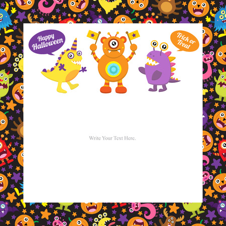 party girl: Cute Monster Halloween Template