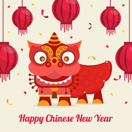 Chinese Dragon Lion Greeting Card