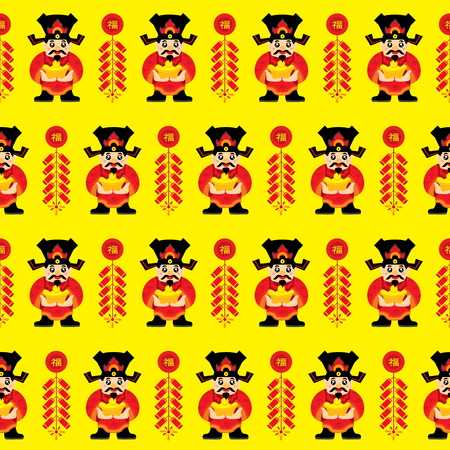 fire crackers: Chinese New Year Lucky God Seamless