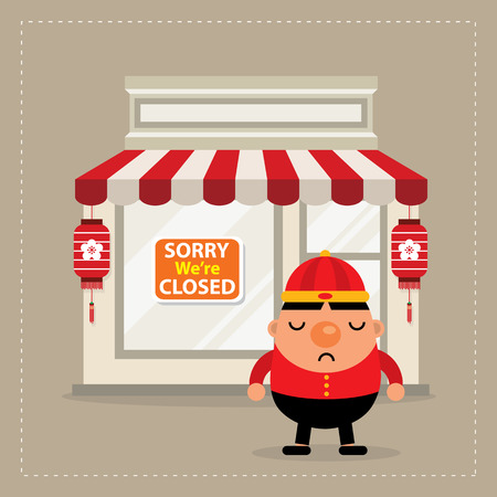 is closed: store closed sign chinese new year Illustration