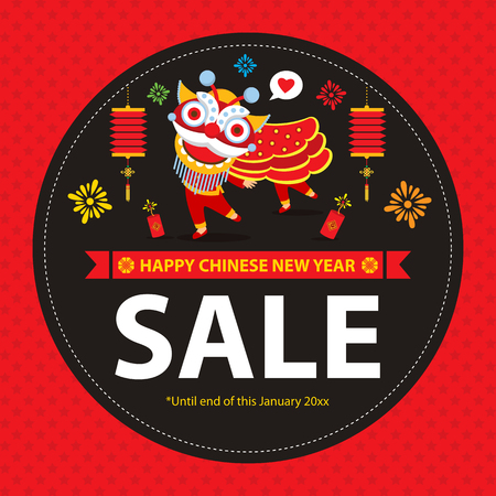 chinese new year dragon: chinese new year sale sign Illustration