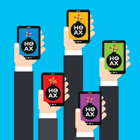 hoax: Hoax businessman hand holding smartphone.