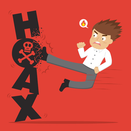 scammer: Animated man kicking the word hoax Illustration