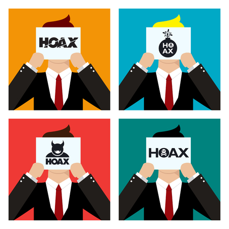 scammer: Man in a different backgrounds holding a paper saying hoax.