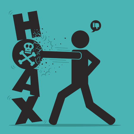hoax icon destroyed by man Illustration