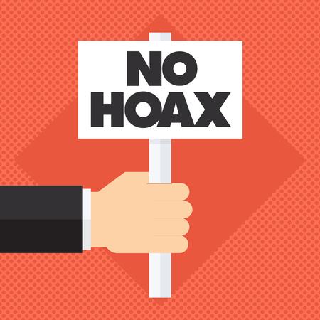 scammer: man holding no hoax sign Illustration